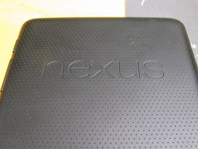 The back of the Nexus 7 is textured black rubber for a good grip. This was listed as being brown, but it looks black to me.