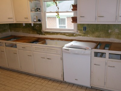 Counter and sink removed