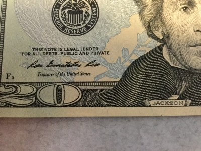 $20 bill microprinting without lens
