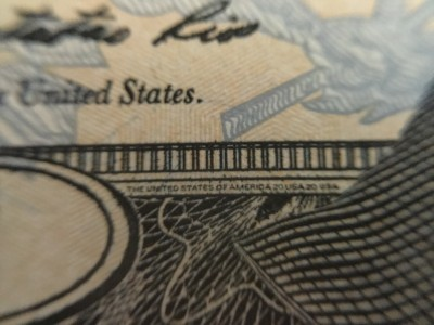 $20 bill microprinting using macro lens