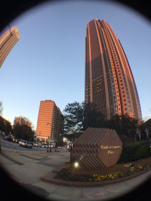 Fish-eye lens picture of Bank of America Building