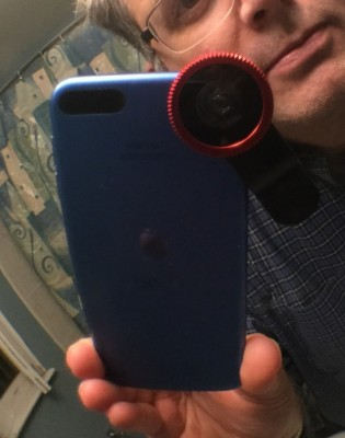 iPod touch with lens clipped in place