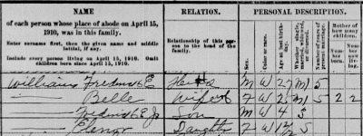 1910 census showing Fred and Belle Williams in Augusta