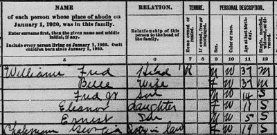 1920 census showing Georgia Chapman in Jacksonville with her brother-in-law